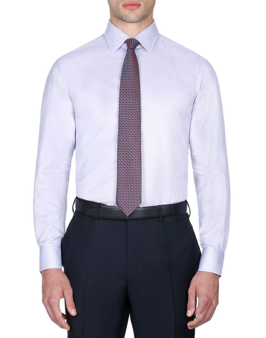 BRIONI White and Mauve Herringbone Shirt Formal shirt Man r