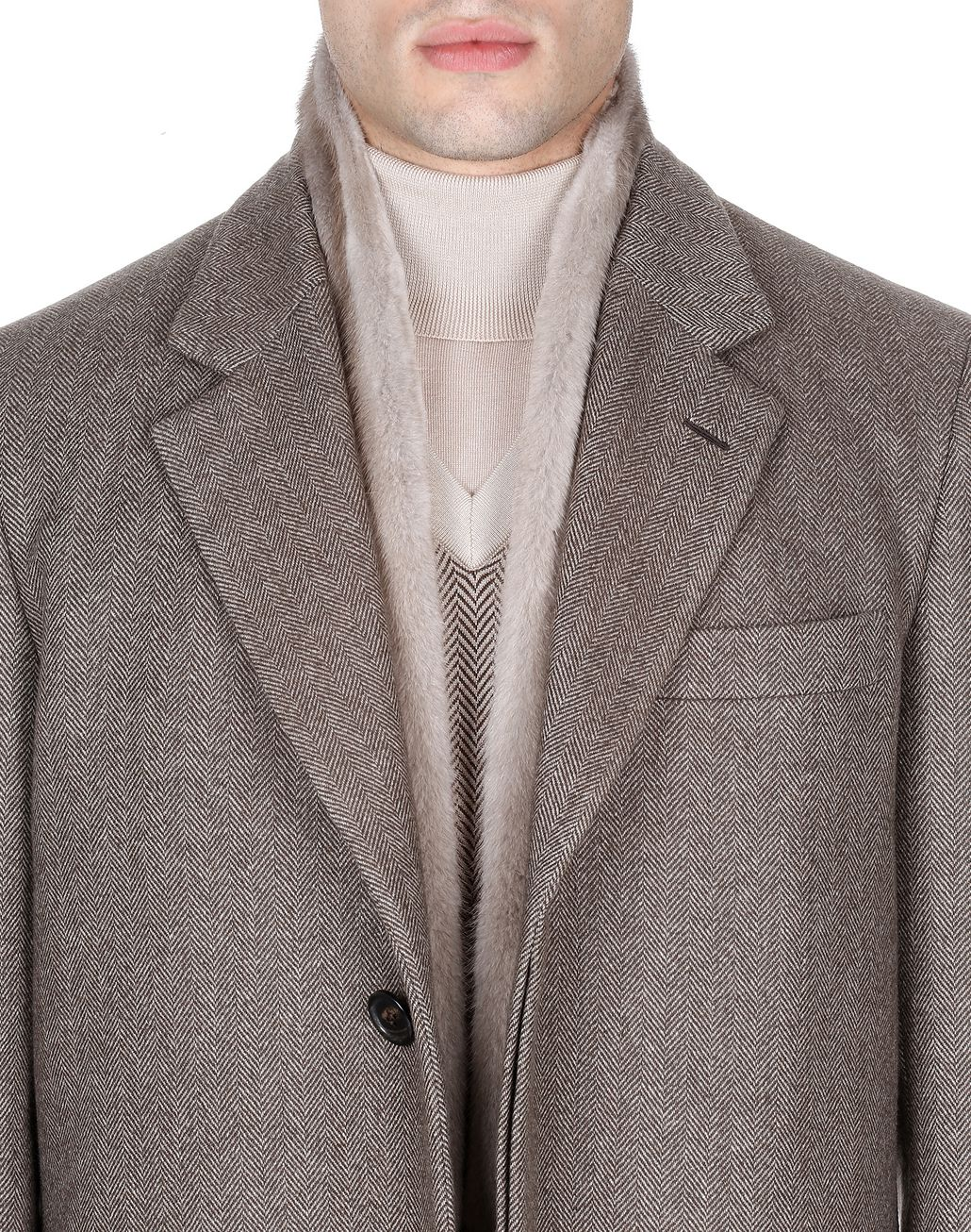 BRIONI Brown Herringbone Priverno Coat Coats & Raincoats Man e