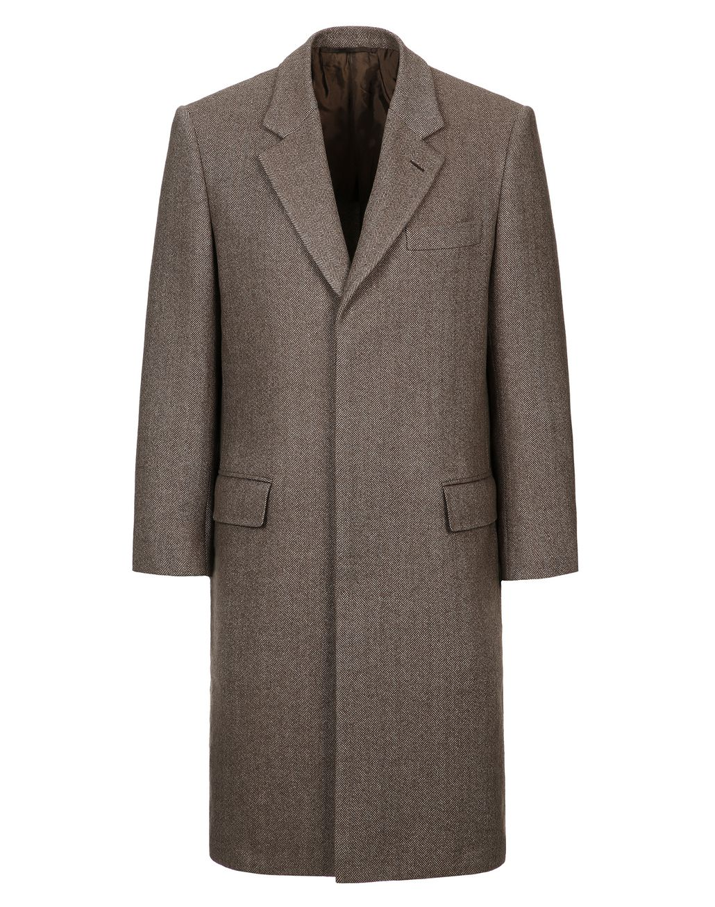 BRIONI Brown Herringbone Priverno Coat Coats & Raincoats Man f