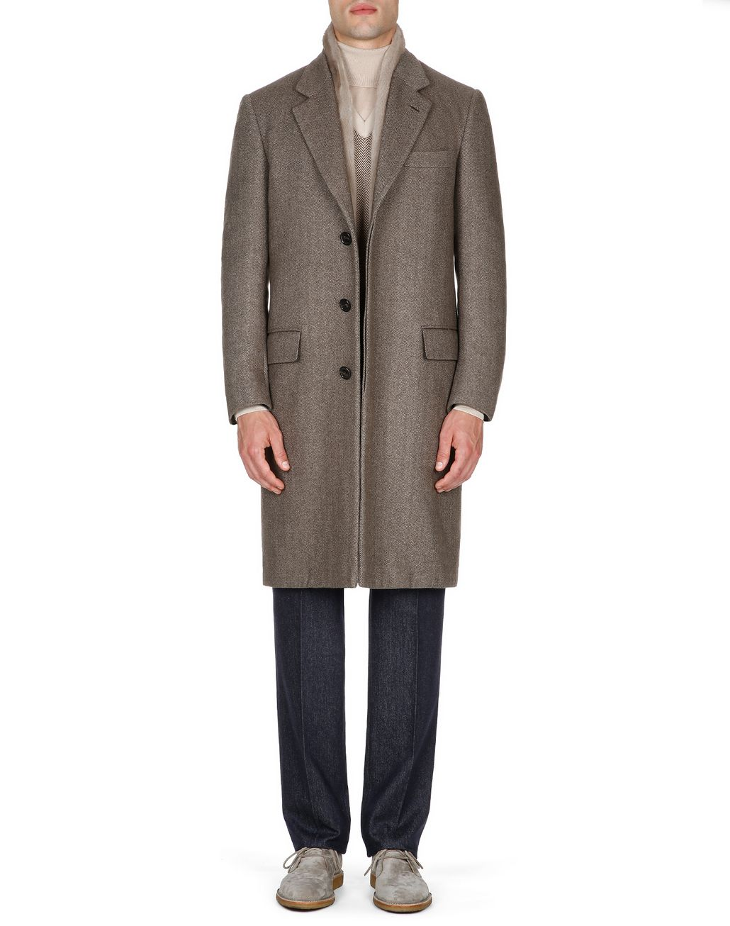 BRIONI Brown Herringbone Priverno Coat Coats & Raincoats Man r