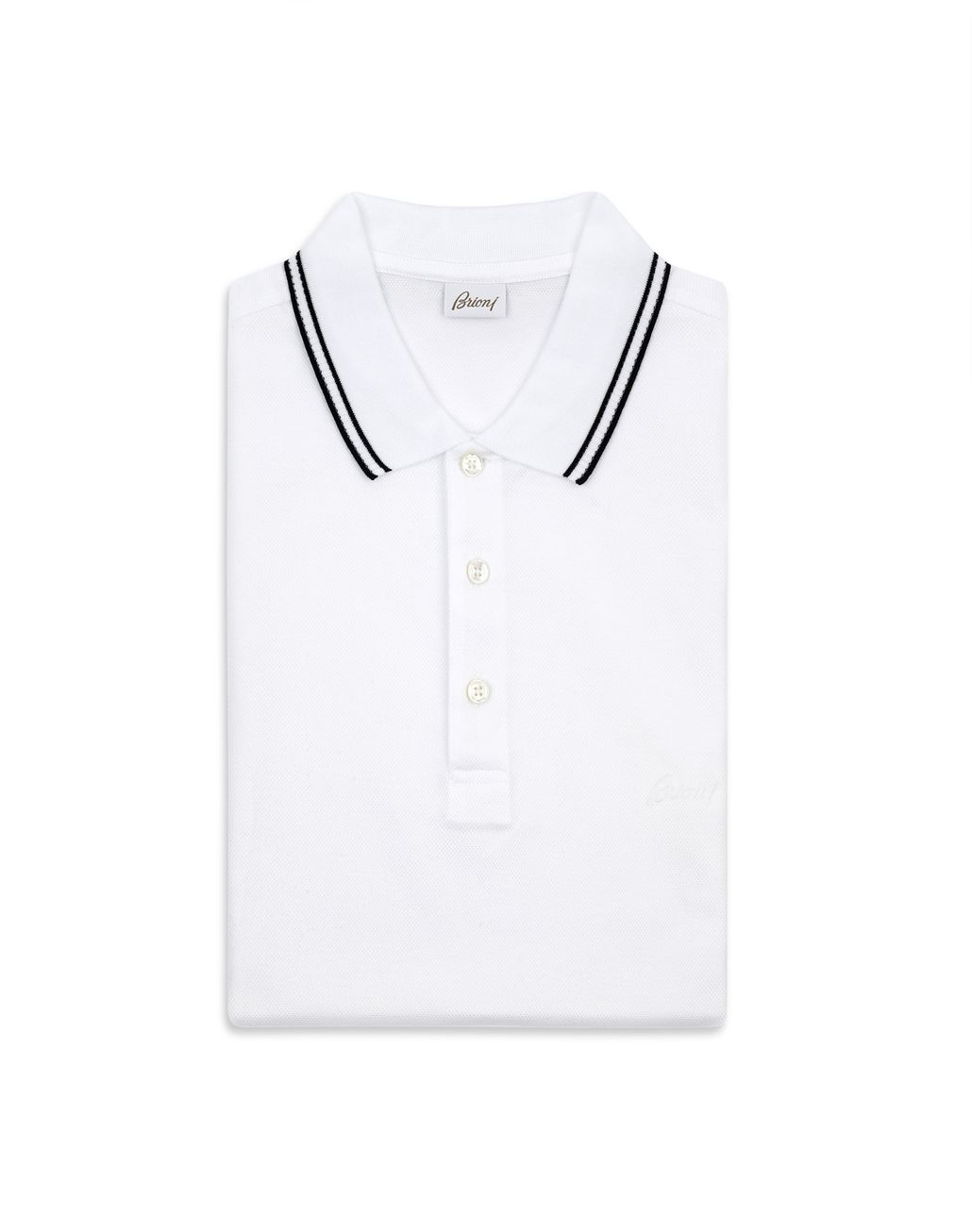 BRIONI Polo Bianca in Piquet con Logo T-Shirt & Polo [*** pickupInStoreShippingNotGuaranteed_info ***] e