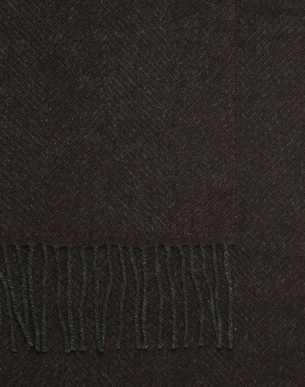 BRIONI Black and Brown Herringbone Scarf Foulards & Scarves Man d