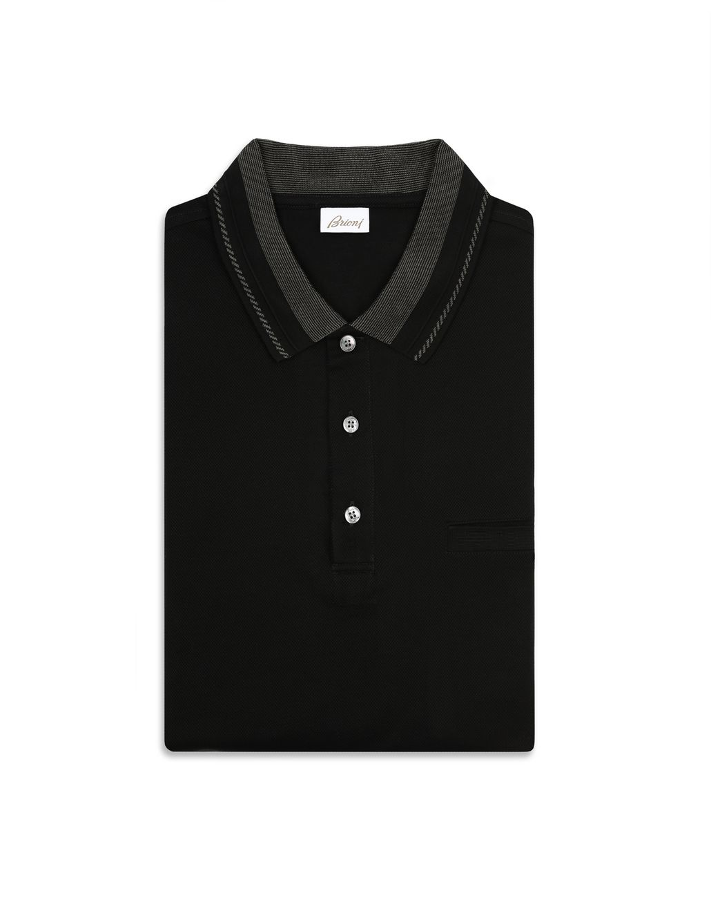 BRIONI Black Polo Shirt with Pocket T-Shirts & Polos [*** pickupInStoreShippingNotGuaranteed_info ***] e