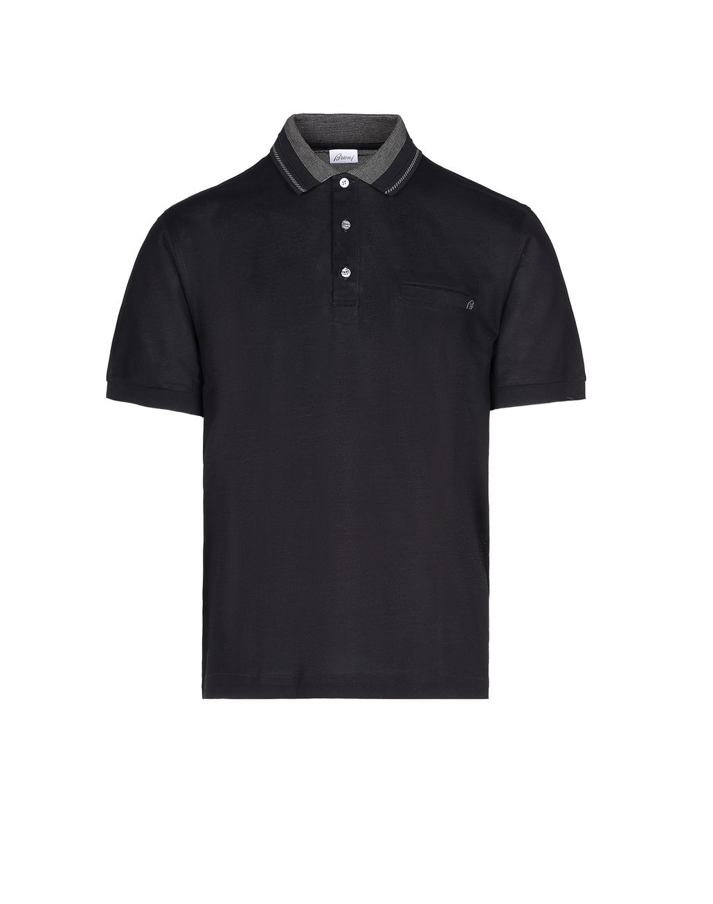 BRIONI Black Polo Shirt with Pocket T-Shirts & Polos [*** pickupInStoreShippingNotGuaranteed_info ***] f