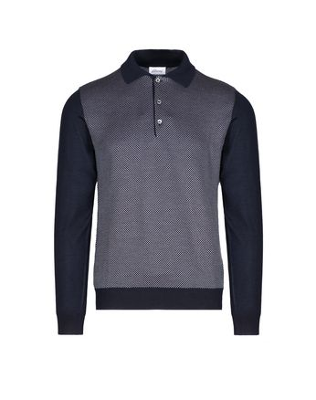 Navy Blue and Bordeaux Long Sleeve Polo Shirt