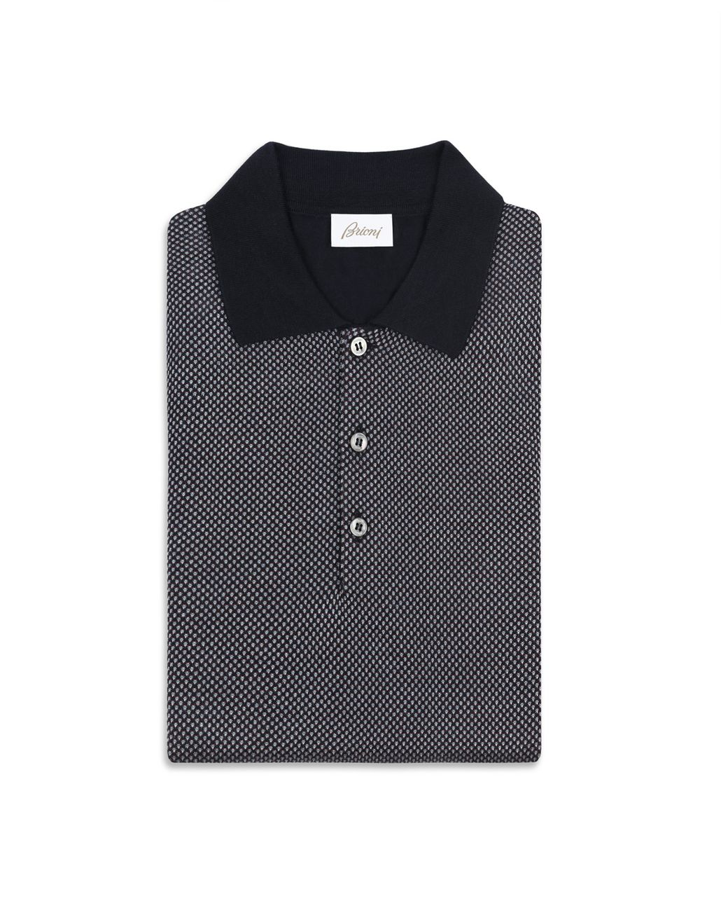 BRIONI Navy Blue and Bordeaux Long Sleeve Polo Shirt Knitwear [*** pickupInStoreShippingNotGuaranteed_info ***] e