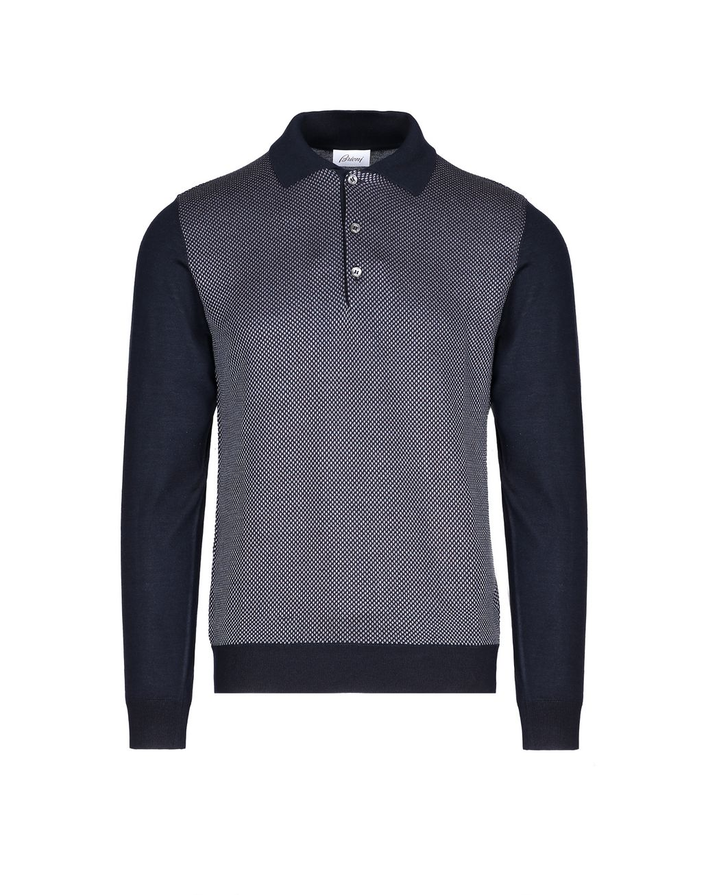 BRIONI Navy Blue and Bordeaux Long Sleeve Polo Shirt Knitwear [*** pickupInStoreShippingNotGuaranteed_info ***] f