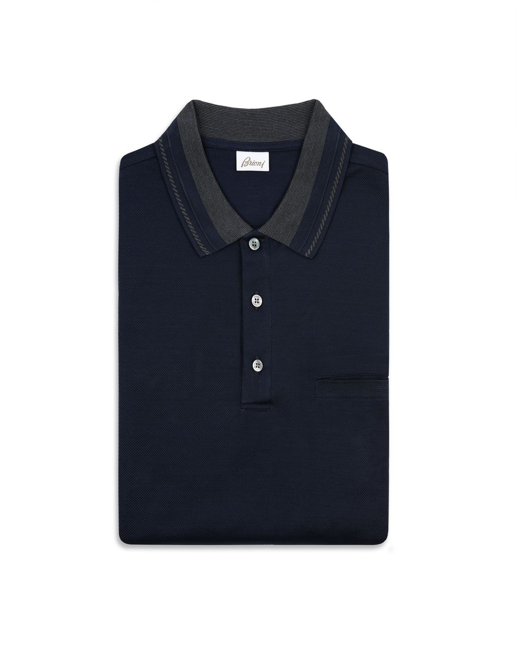 BRIONI Navy Blue Polo Shirt with Pocket T-Shirts & Polos [*** pickupInStoreShippingNotGuaranteed_info ***] e