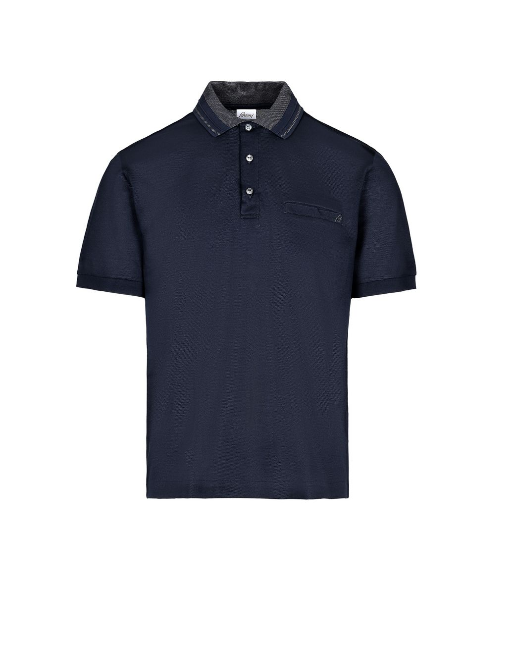 BRIONI Navy Blue Polo Shirt with Pocket T-Shirts & Polos [*** pickupInStoreShippingNotGuaranteed_info ***] f