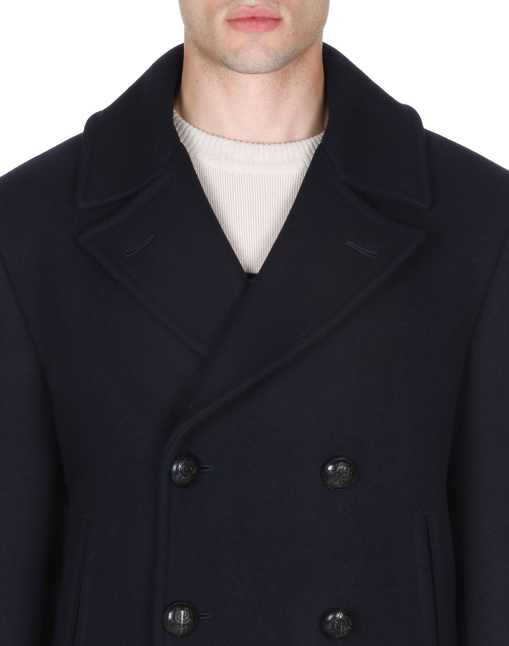 BRIONI Navy Blue Double Breasted Coat Coats & Raincoats Man e