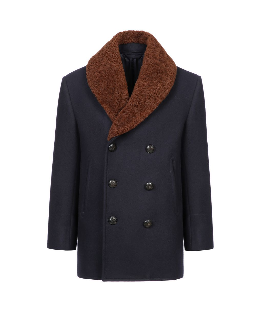 BRIONI Navy Blue Double Breasted Coat Coats & Raincoats Man f
