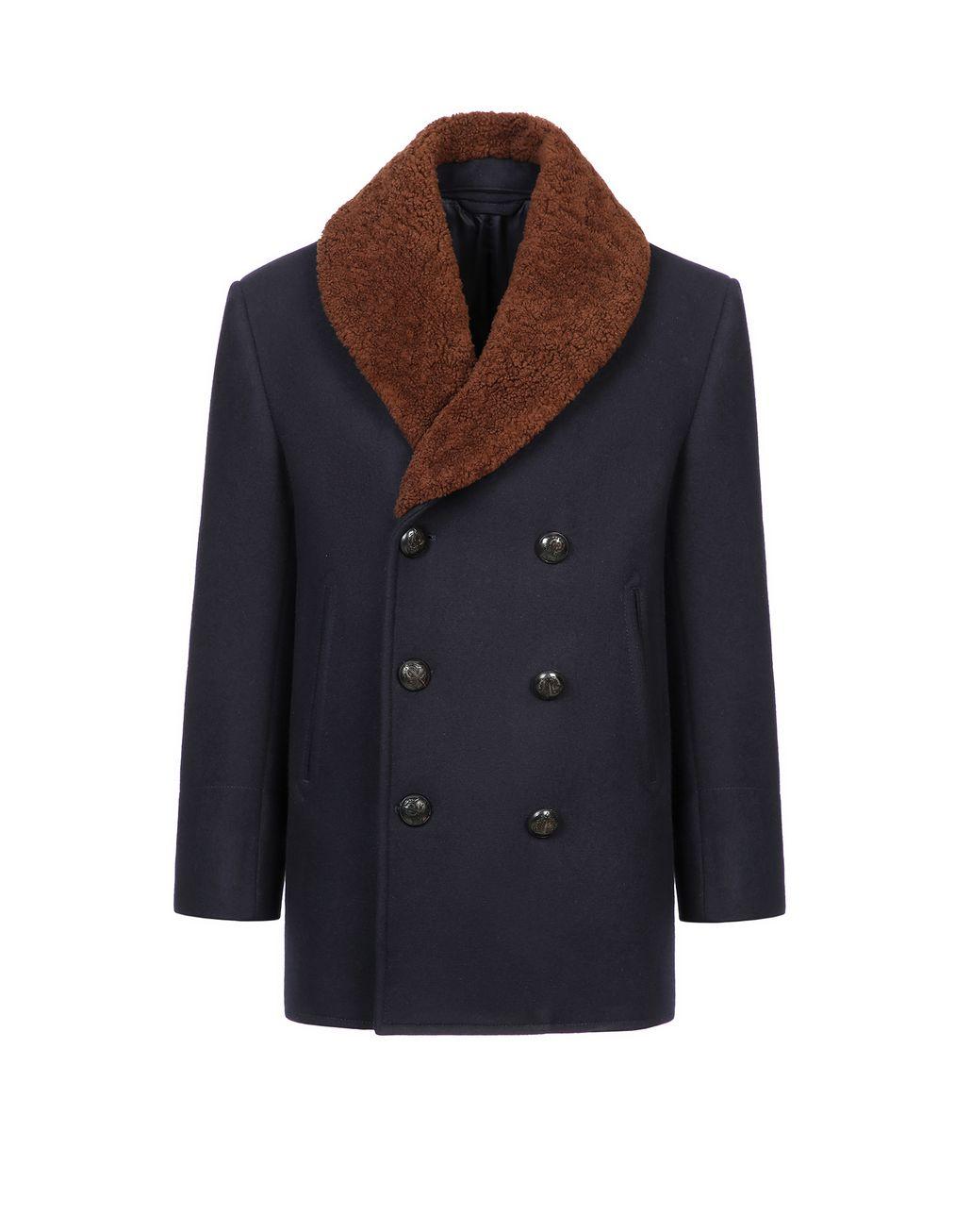 BRIONI Тёмно-синее двубортное пальто Пальто и плащи Для Мужчин f