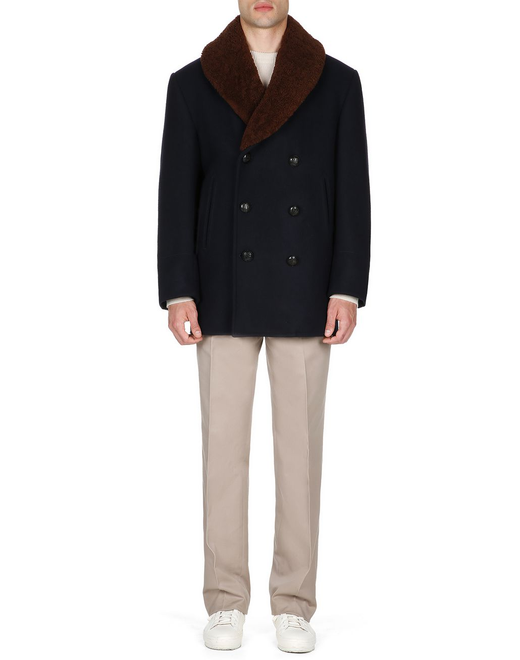 BRIONI Navy Blue Double Breasted Coat Coats & Raincoats Man r