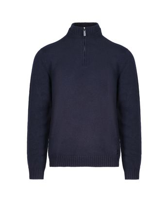 Navy Blue Mock Neck Zipped Sweater