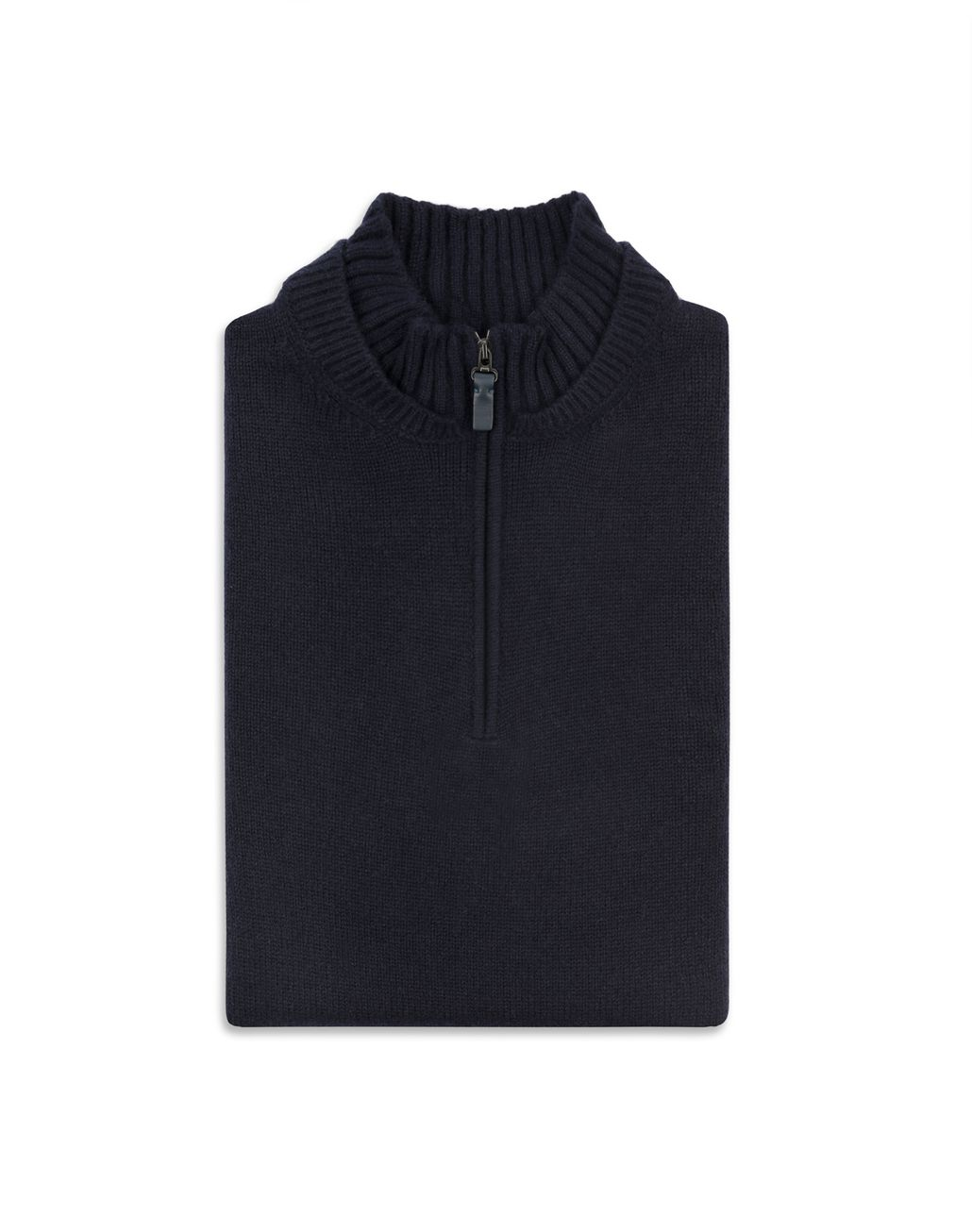 BRIONI Navy Blue Mock Neck Zipped Sweater Knitwear Man e