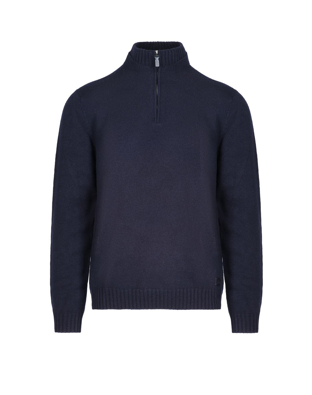 BRIONI Navy Blue Mock Neck Zipped Sweater Knitwear Man f