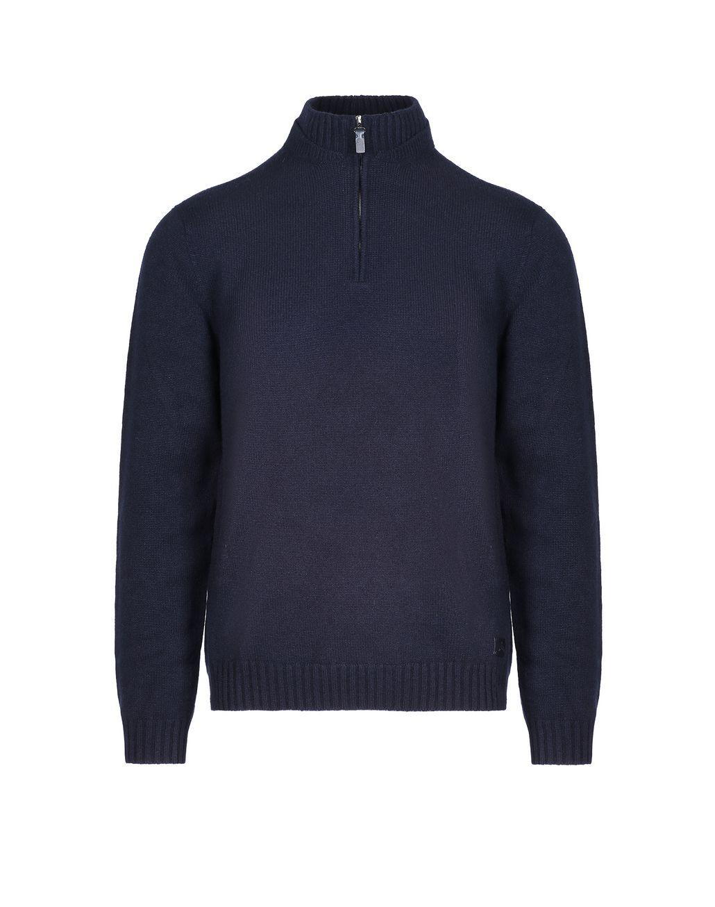 BRIONI Marineblauer Pullover mit Stehkragen und Reißverschluss Strickware [*** pickupInStoreShippingNotGuaranteed_info ***] f