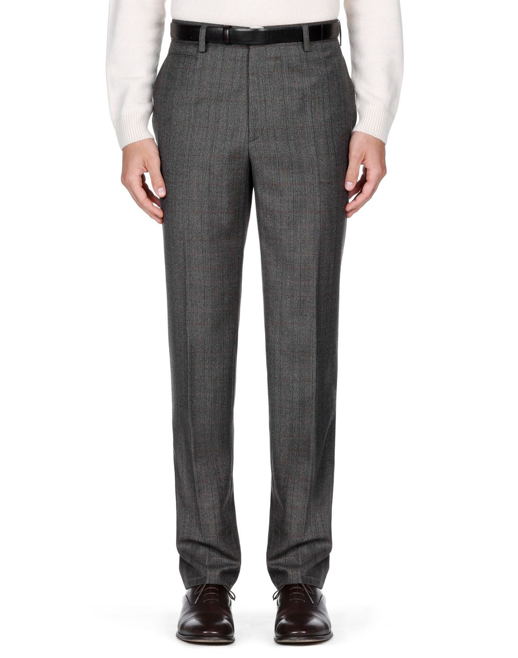 BRIONI Brown Plaid Pants Trousers Man r