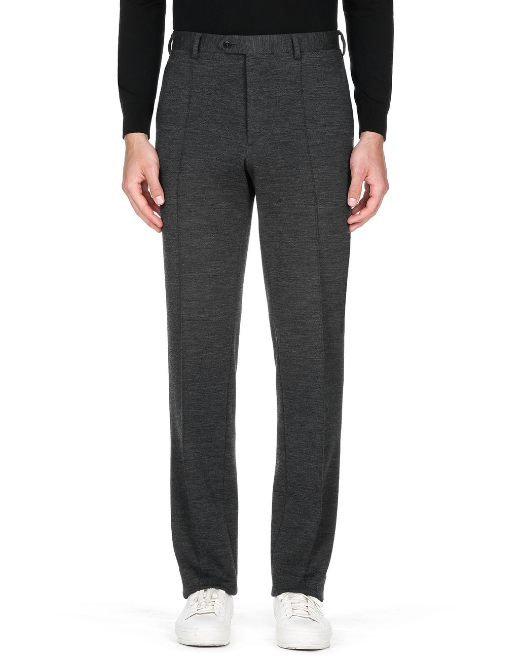 BRIONI Antrachite Gray Jersey Pants Trousers Man r