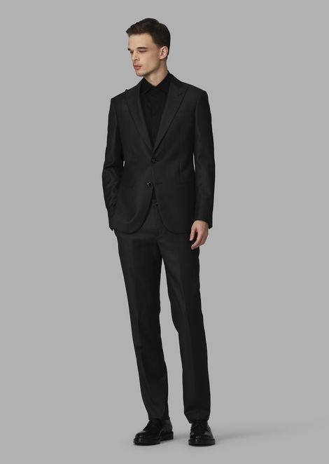 Slim-fit half-canvas microcheck twill Soho suit