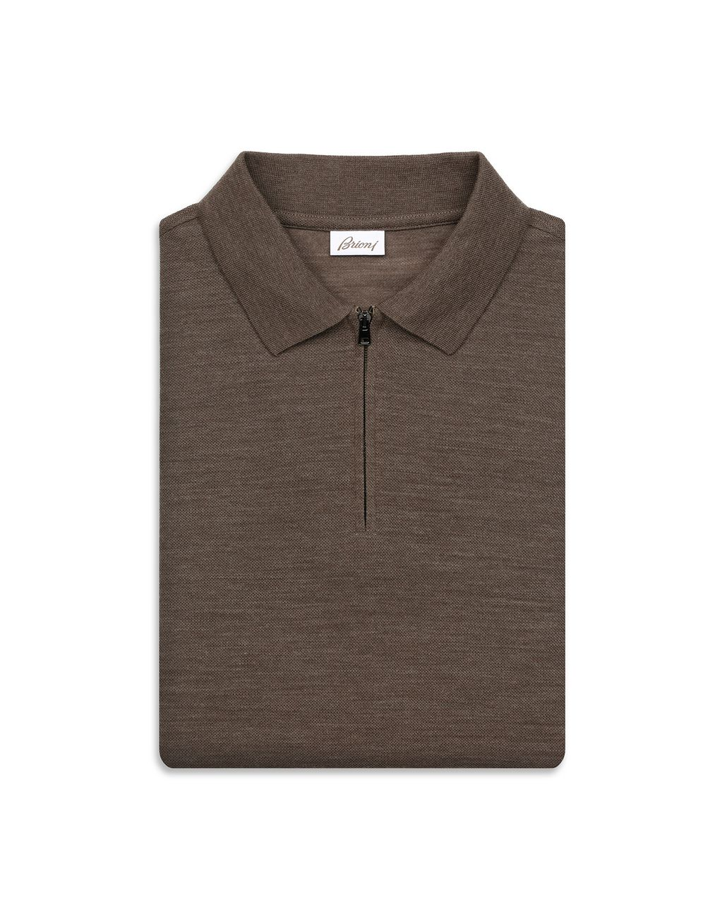 BRIONI Brown Zipped Polo Shirt T-Shirts & Polos [*** pickupInStoreShippingNotGuaranteed_info ***] e