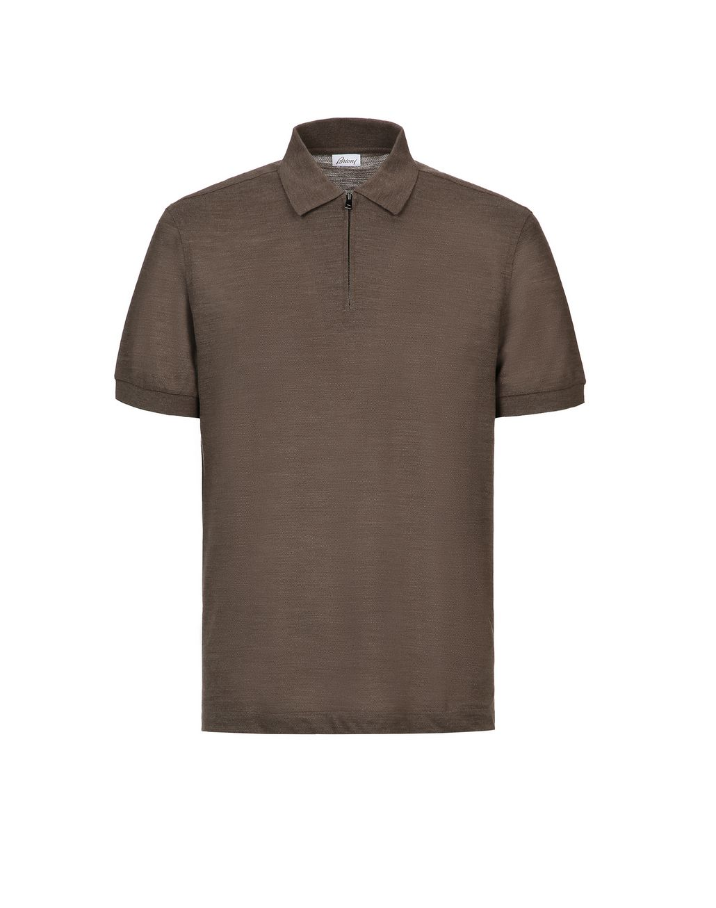 BRIONI Brown Zipped Polo Shirt T-Shirts & Polos [*** pickupInStoreShippingNotGuaranteed_info ***] f