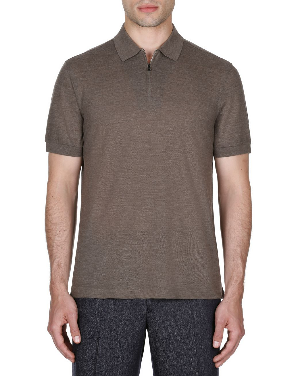 BRIONI Brown Zipped Polo Shirt T-Shirts & Polos Man r