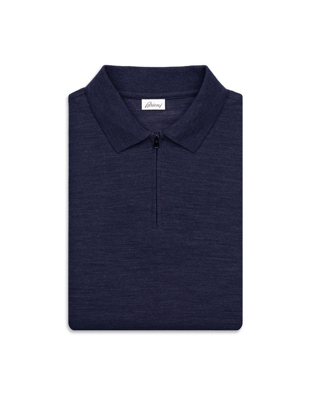 BRIONI Navy Blue Zipped Polo Shirt T-Shirts & Polos [*** pickupInStoreShippingNotGuaranteed_info ***] e
