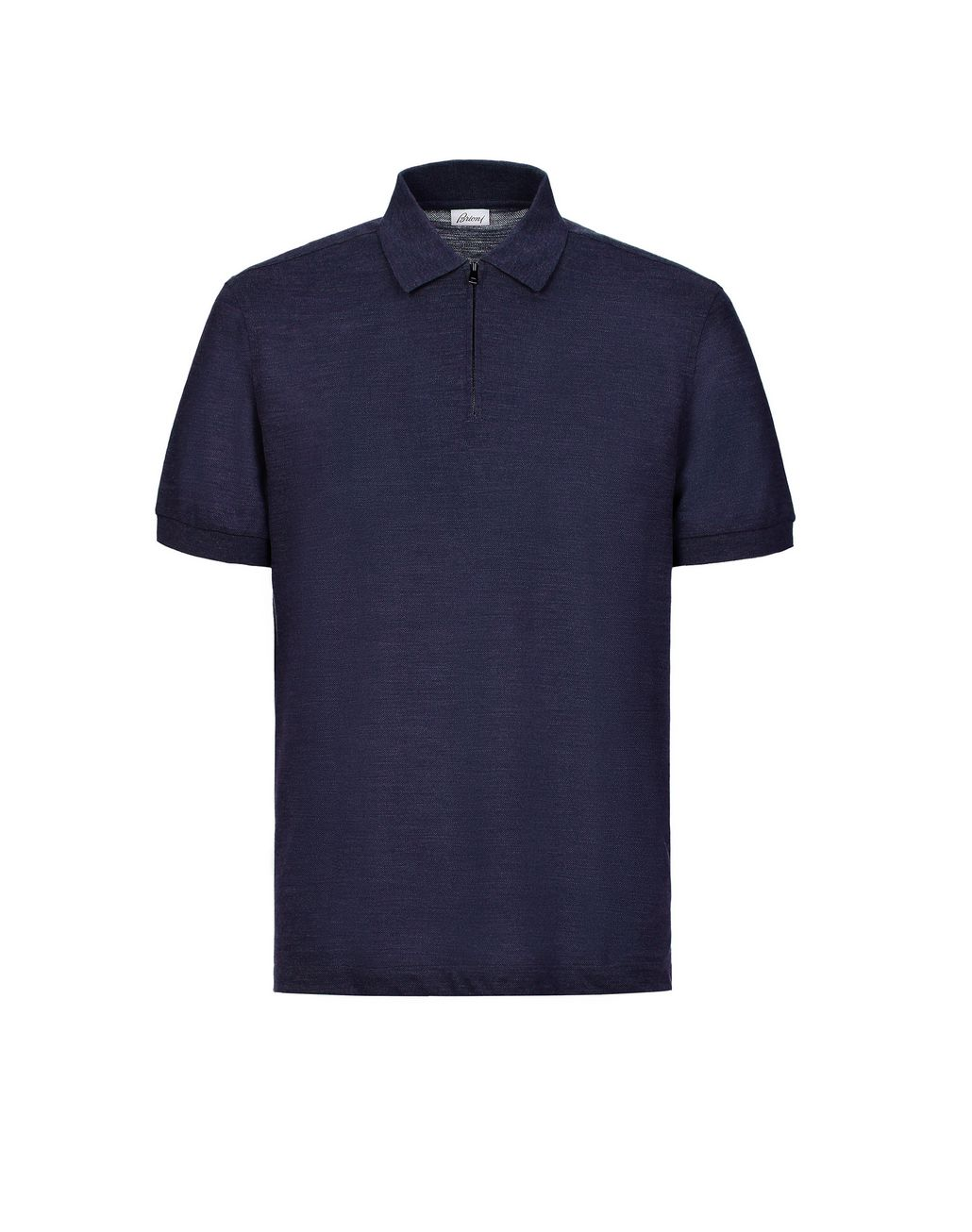 BRIONI Navy Blue Zipped Polo Shirt T-Shirts & Polos [*** pickupInStoreShippingNotGuaranteed_info ***] f