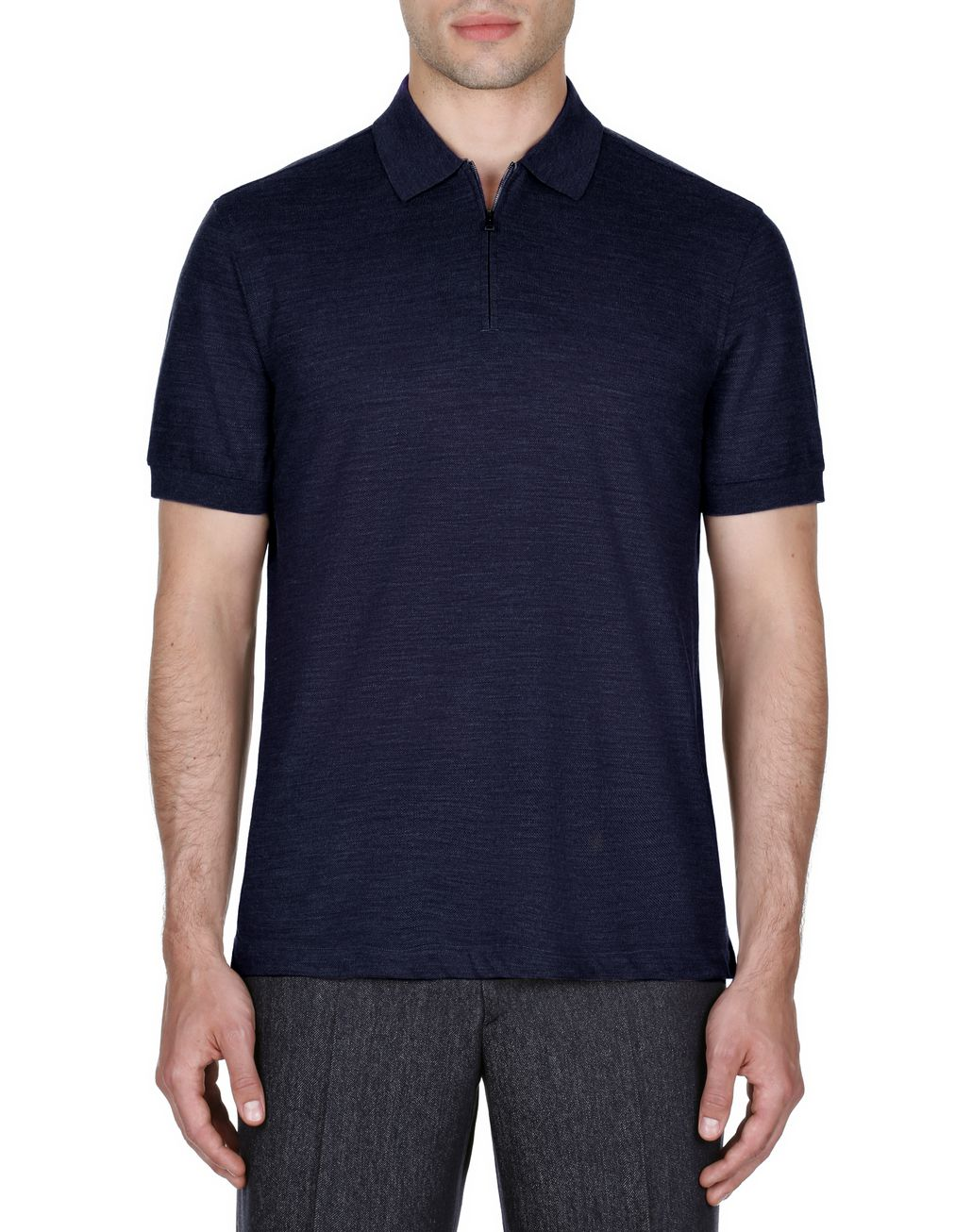 BRIONI Navy Blue Zipped Polo Shirt T-Shirts & Polos Man r