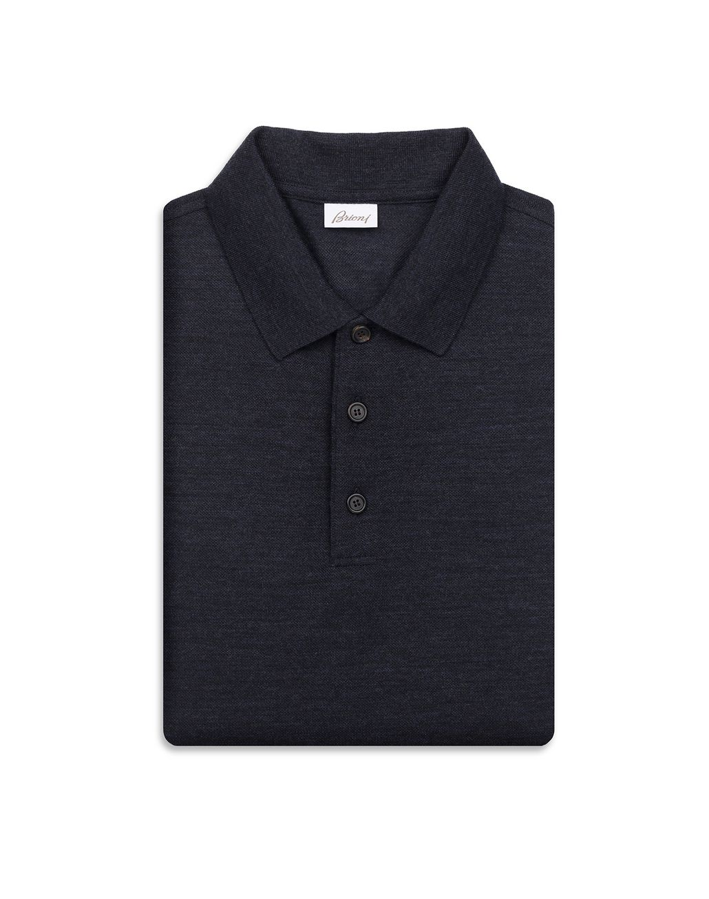BRIONI Navy Blue Long Sleeves Polo Shirt T-Shirts & Polos Man e