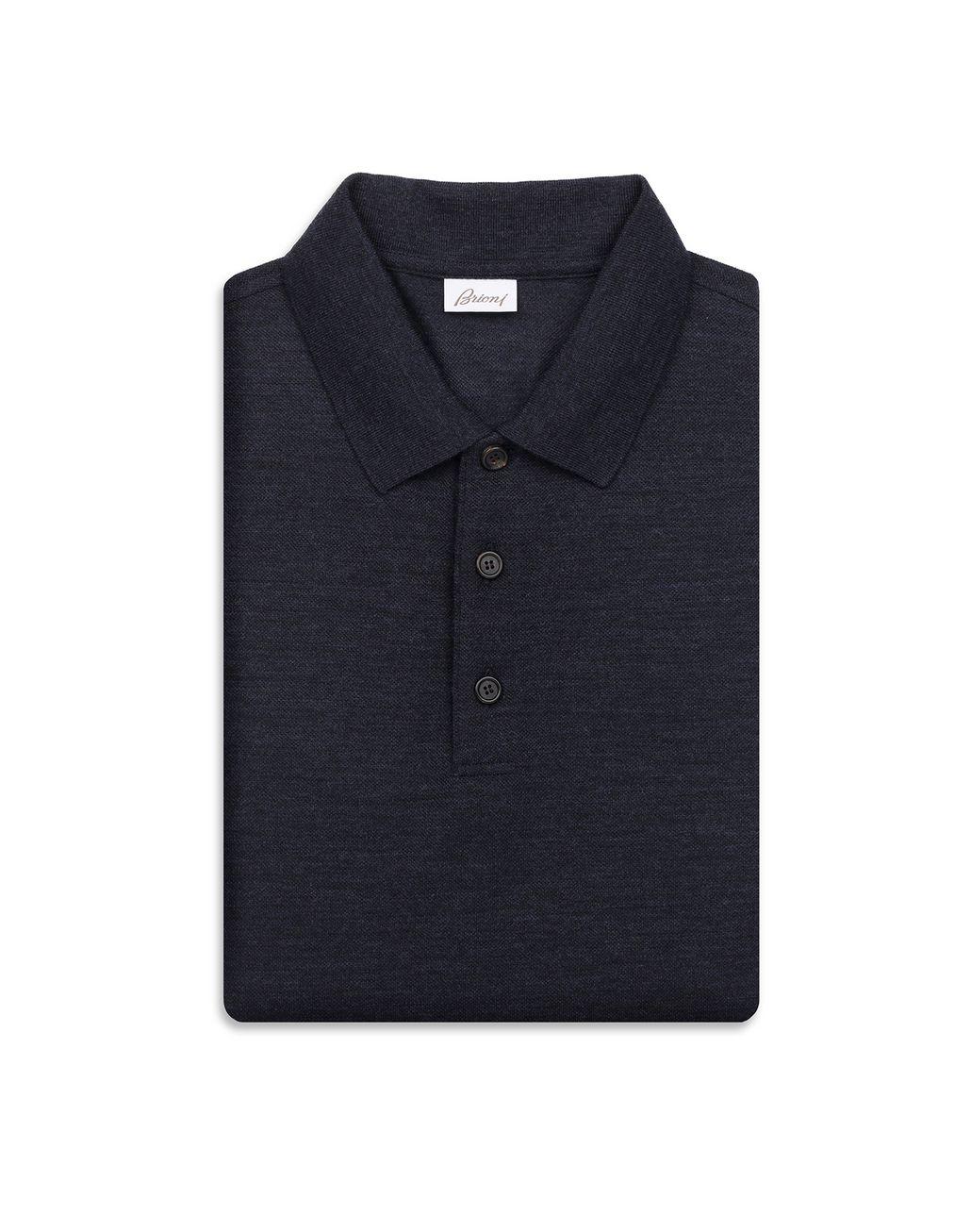 BRIONI Polo Blu Navy a Maniche Lunghe T-Shirt & Polo [*** pickupInStoreShippingNotGuaranteed_info ***] e