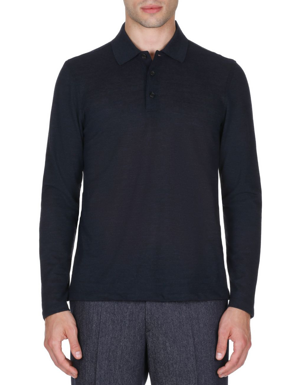 BRIONI Navy Blue Long Sleeves Polo Shirt T-Shirts & Polos Man r