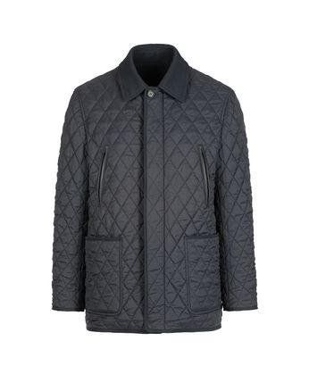 Navy Blue Quilted Reversible Field Jacket