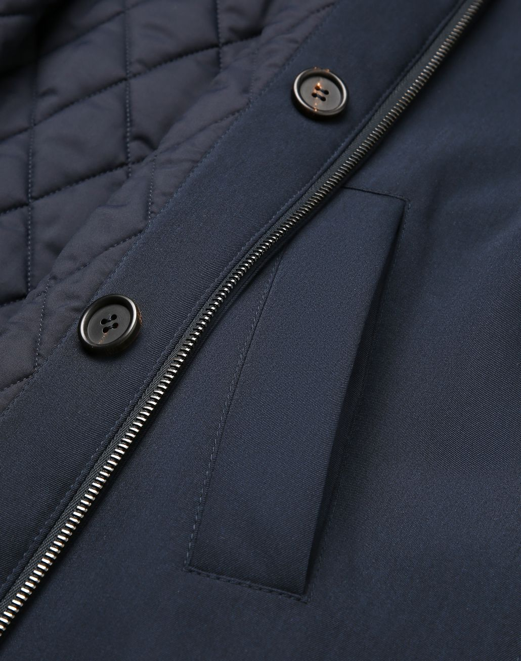BRIONI Navy Blue Quilted Reversible Field Jacket Coats & Raincoats Man e
