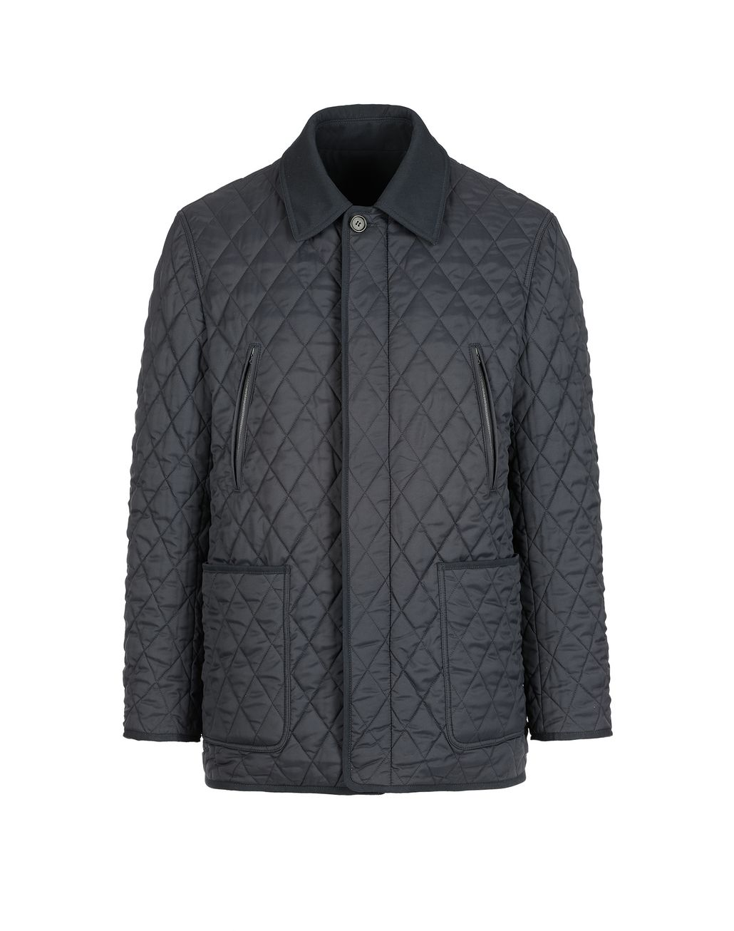 BRIONI Navy Blue Quilted Reversible Field Jacket Coats & Raincoats Man f
