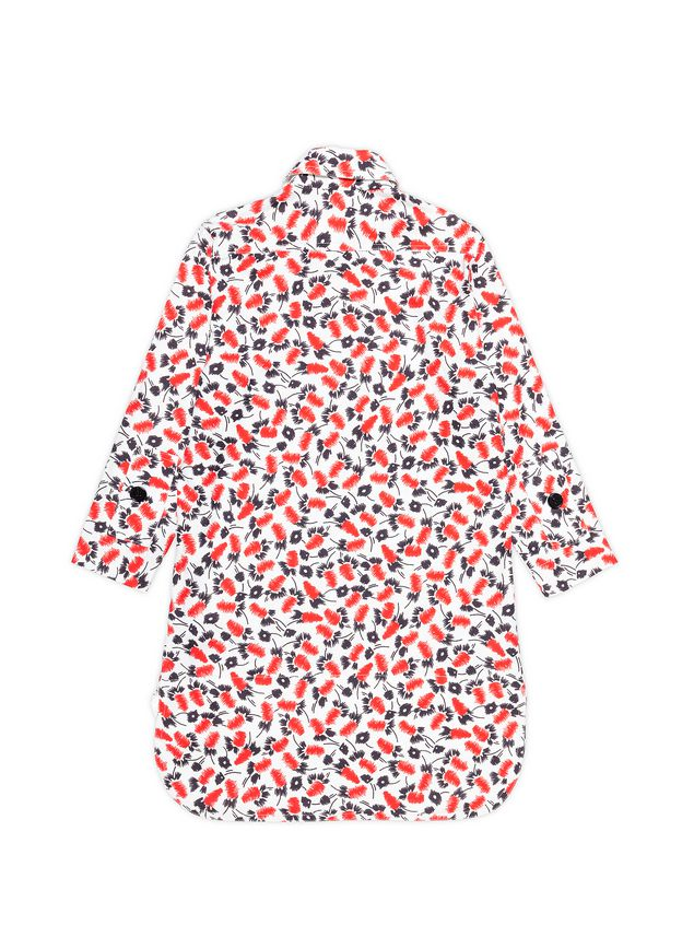 Marni LONG-SLEEVED COTTON DRESS WITH SABLÉ PLUME PRINT Woman