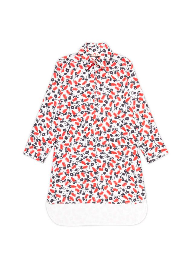 Marni LONG-SLEEVED COTTON DRESS WITH SABLÉ PLUME PRINT Woman - 1