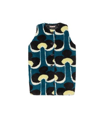 Marni FAUX FUR VEST WITH ALL-OVER PORTRAIT PRINT  Woman
