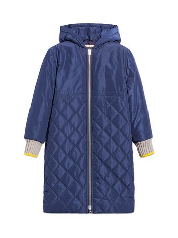 Marni BLUE QUILTED HOODED JACKETS Woman