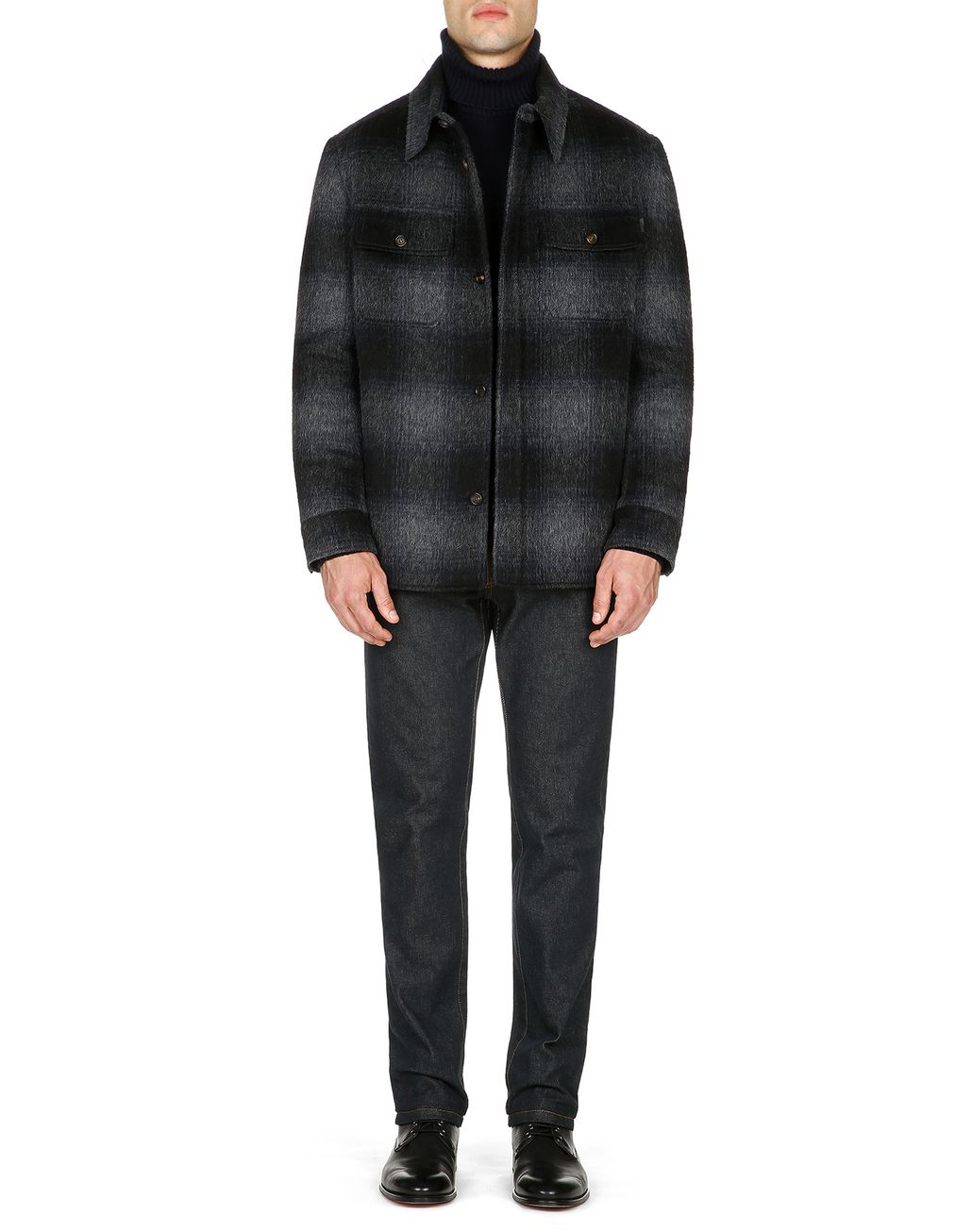 BRIONI Anthracite Canadian Jacket Outerwear Man r
