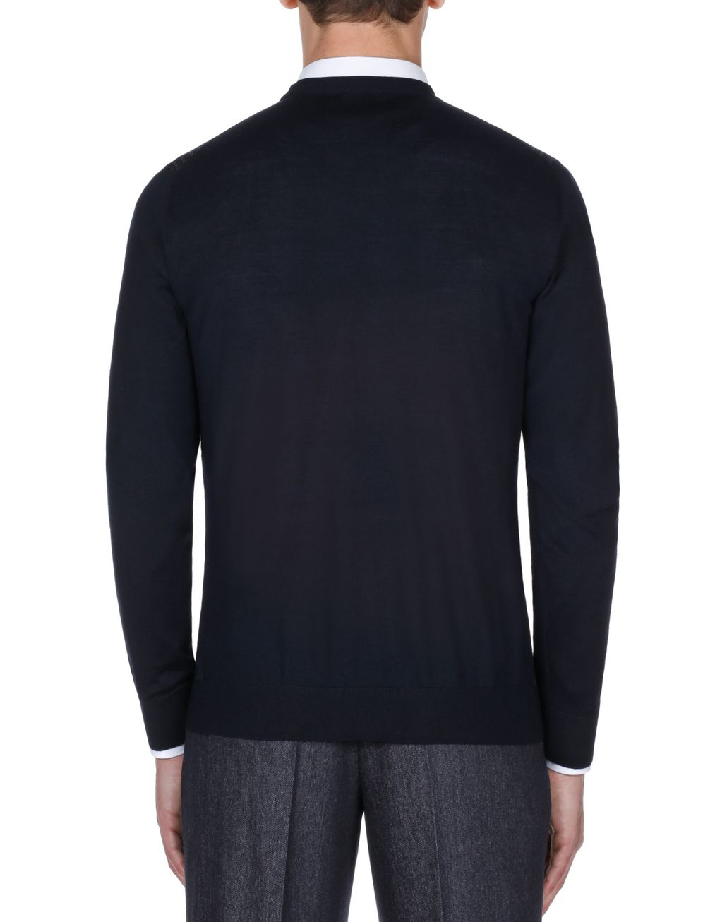 BRIONI Navy Blue Crew Neck Sweater Knitwear Man d