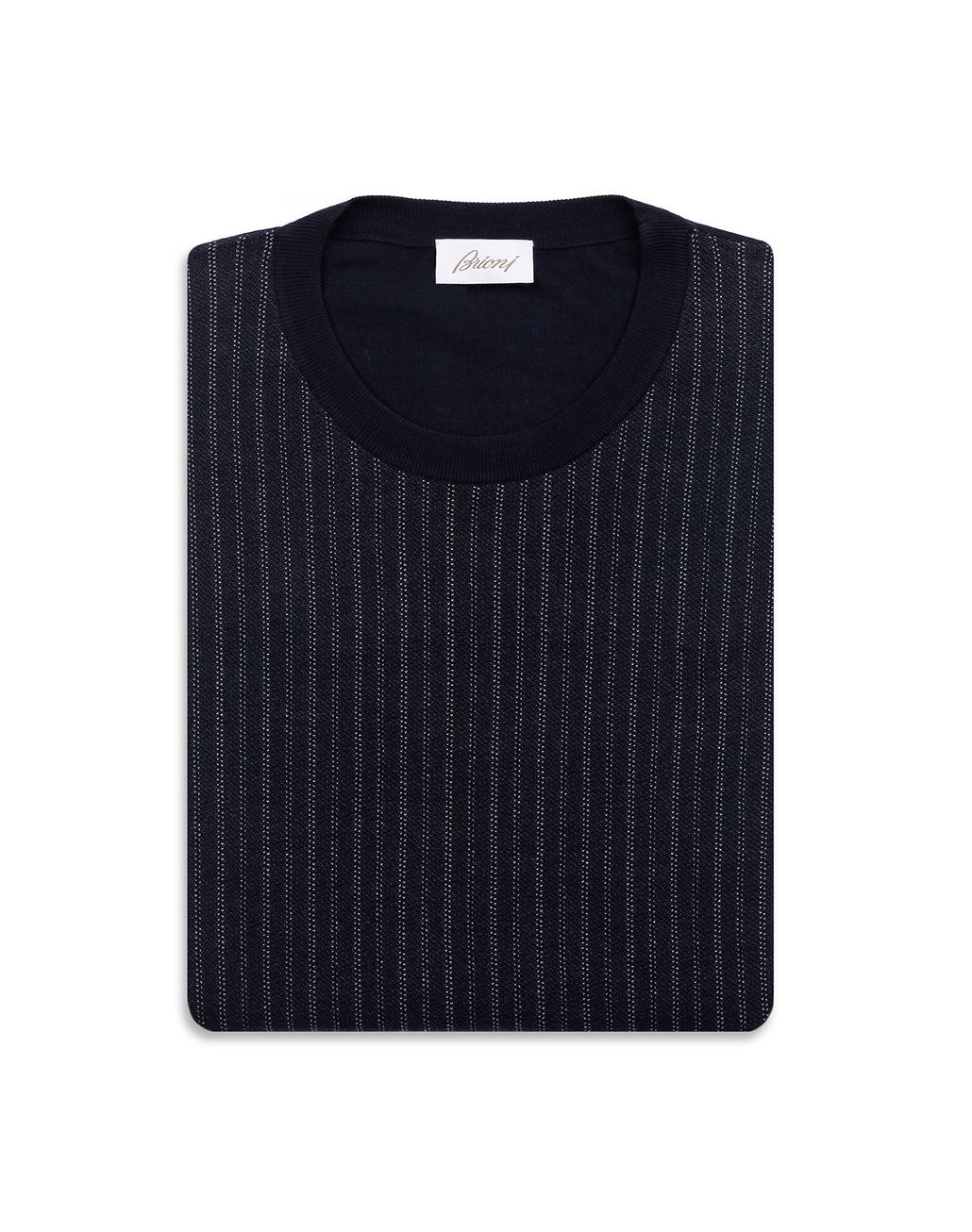 BRIONI Navy Blue Crew Neck Sweater Knitwear Man e