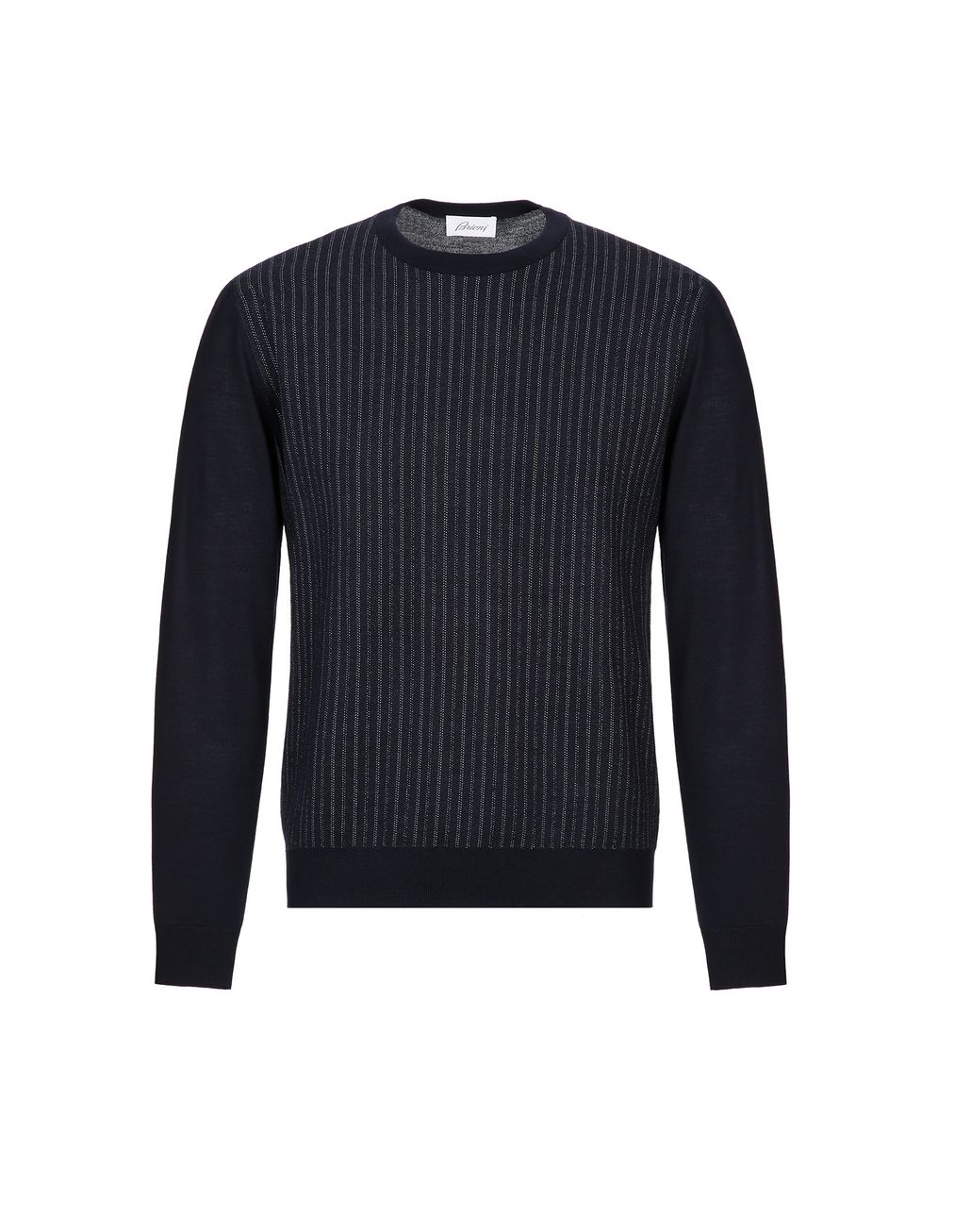 BRIONI Navy Blue Crew Neck Sweater Knitwear Man f