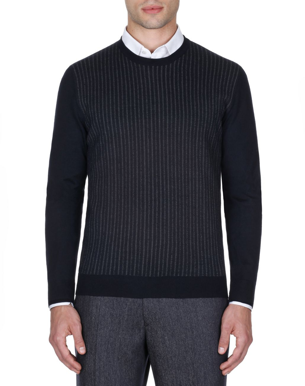 BRIONI Navy Blue Crew Neck Sweater Knitwear Man r