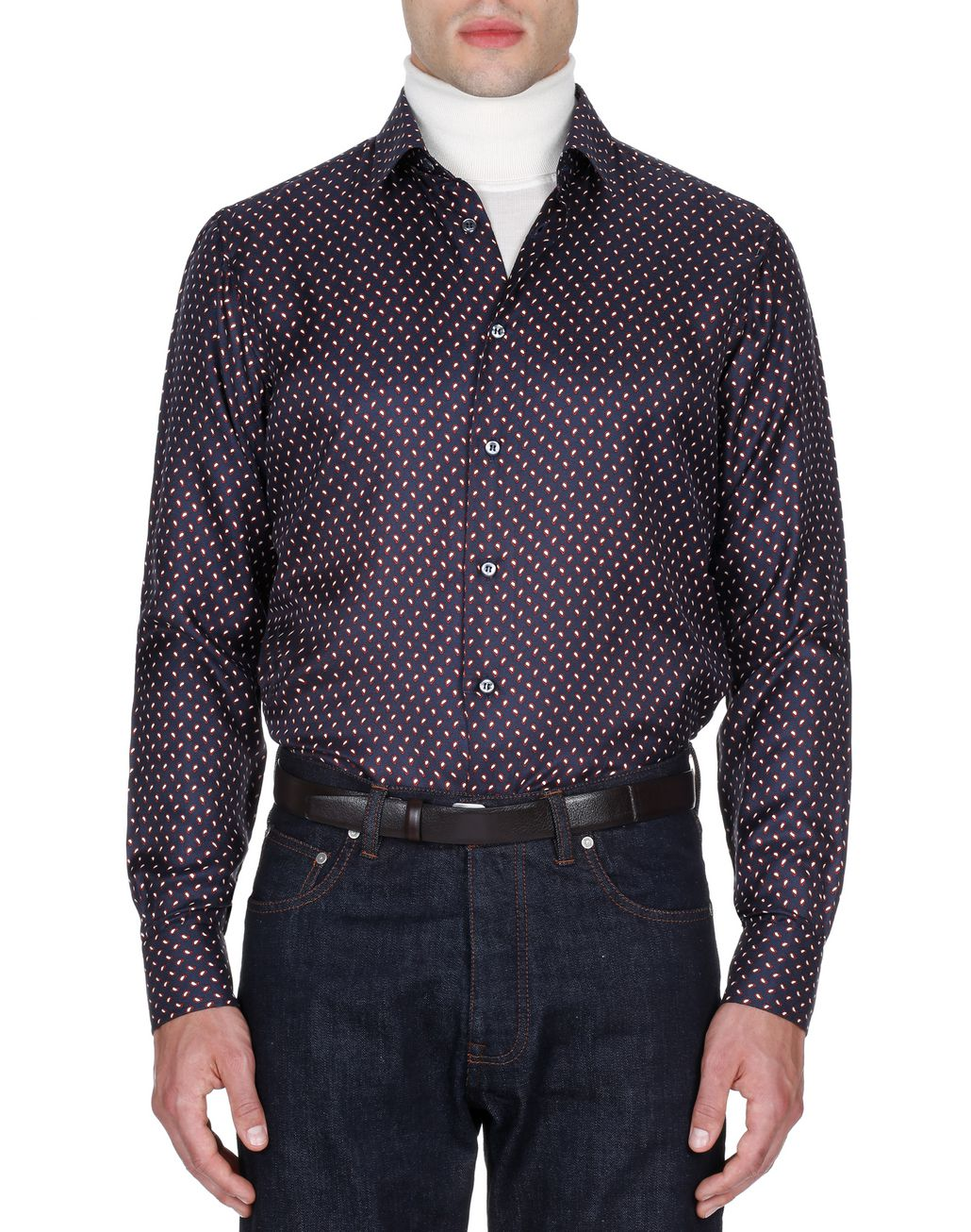BRIONI Navy Blue and Red Paisley Shirt Leisure shirt Man r