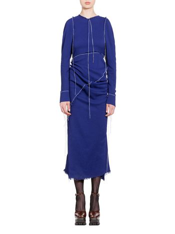 Marni Dress in double sablè viscose with sphere button Woman
