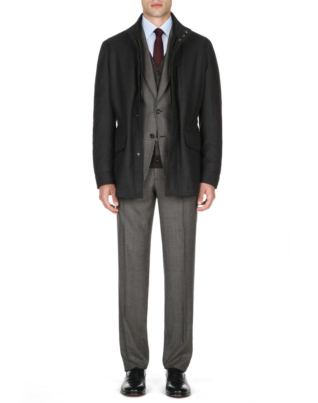 BRIONI Anthracite Field Jacket Coats & Raincoats Man r