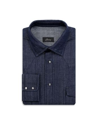 Navy Blue Denim Shirt