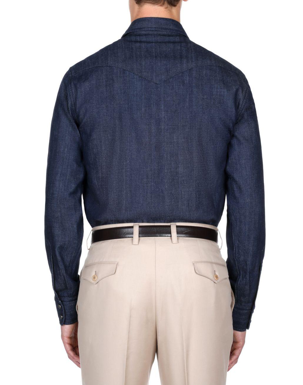 BRIONI Тёмно-синяя джинсовая рубашка Pубашка [*** pickupInStoreShippingNotGuaranteed_info ***] d
